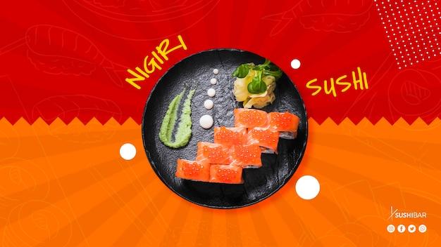 Nigiri-sushiplaat voor aziatisch oosters japans restaurant of sushibar Gratis Psd