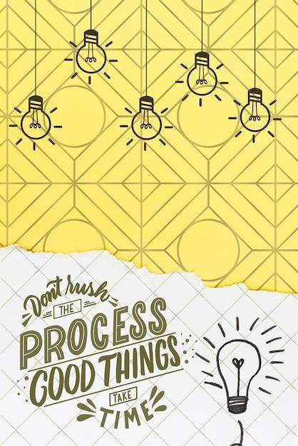 Non affrettare il processo con lampadine e scarabocchi Psd Gratuite