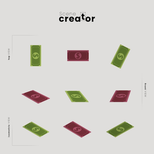 Note-bankgeld verschillende hoeken voor illustraties van scènemaker Gratis Psd