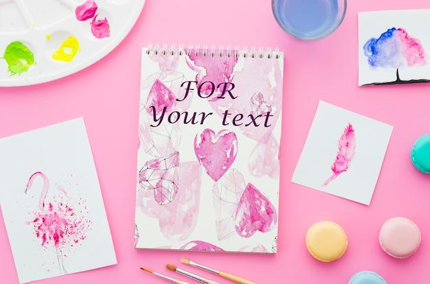Notebook con disegno su fogli di carta Psd Gratuite