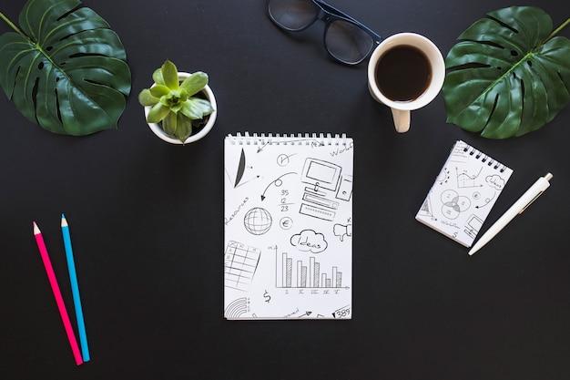 Notebook mockup met internet van dingen concept Gratis Psd
