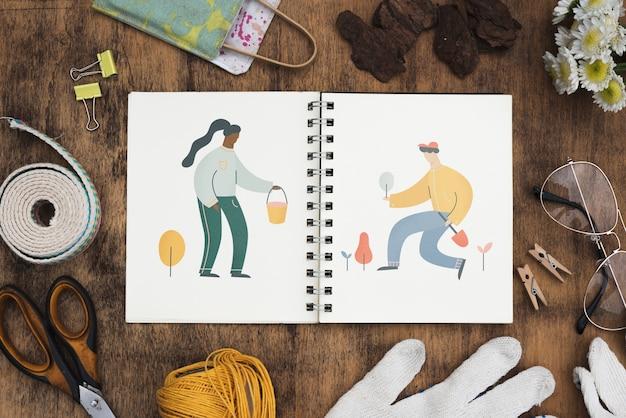 Notepad mockup met tuinieren concept Gratis Psd