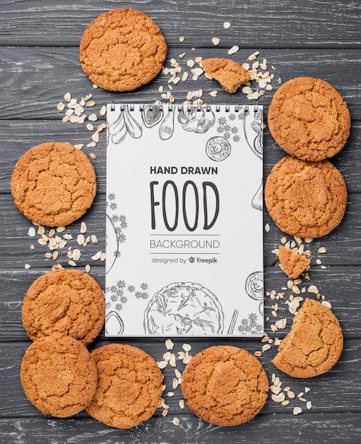 Notitieboekje met koekjesframe Gratis Psd