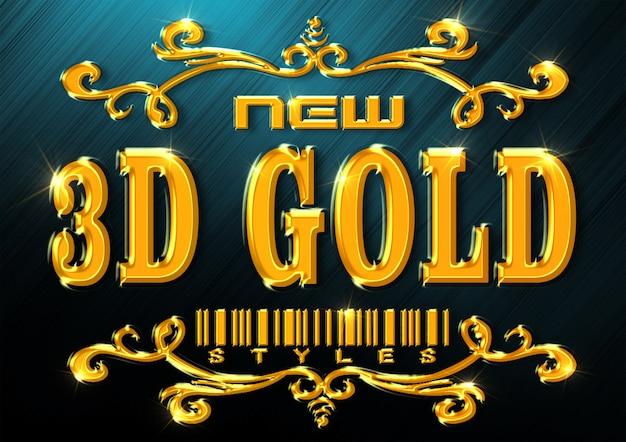 Nuevo estilo de texto dorado PSD Premium