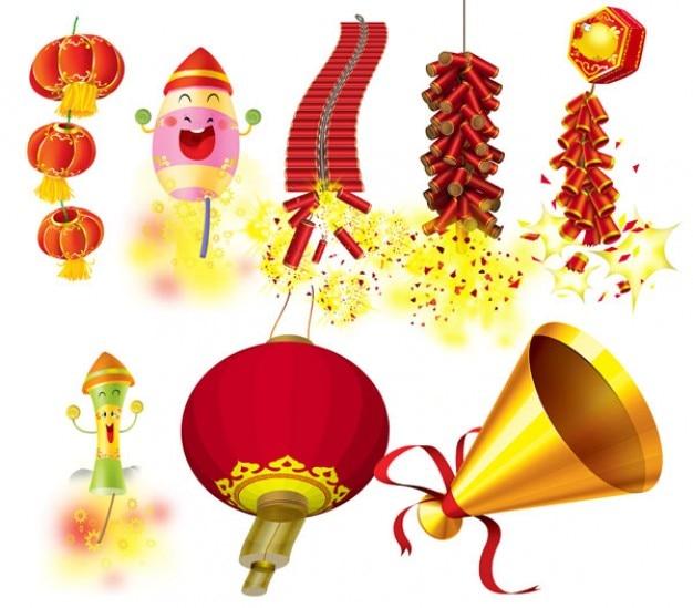 Nuevos latterns año chino tradicional y elementos PSD gratuito