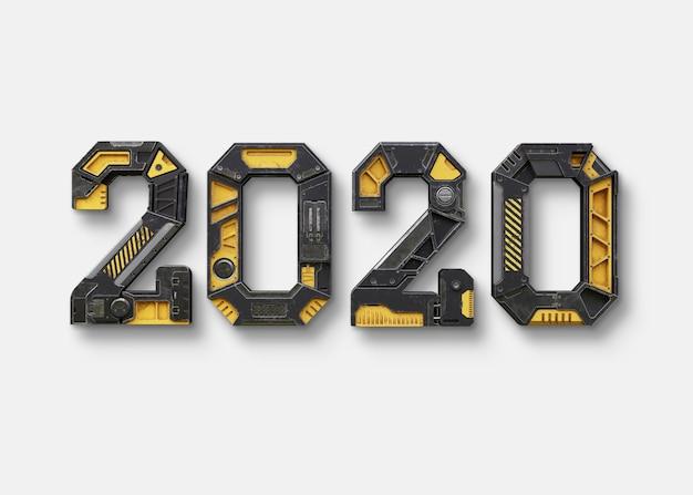 Nuovo anno 2020 realizzato in alfabeto robot Psd Premium