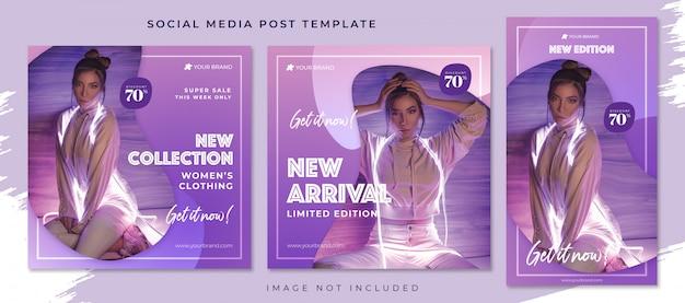 Nuovo modello di raccolta social media post Psd Premium