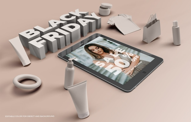 Objetos 3d y tablet para black friday PSD Premium