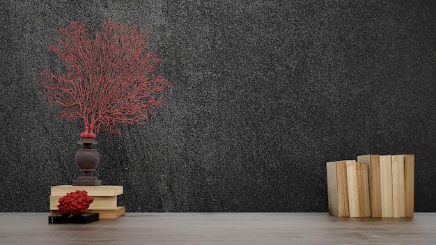 Objetos decorativos, libros antiguos y jarrones sobre pared negra, estilo japonés. PSD gratuito
