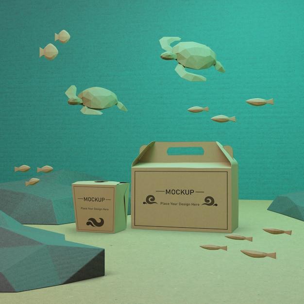 Oceaan dag papieren zakken met schildpadden onderwater Gratis Psd