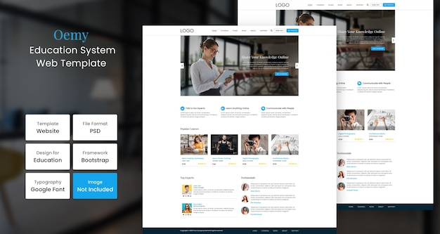 Oemy onderwijs websjabloon Premium Psd