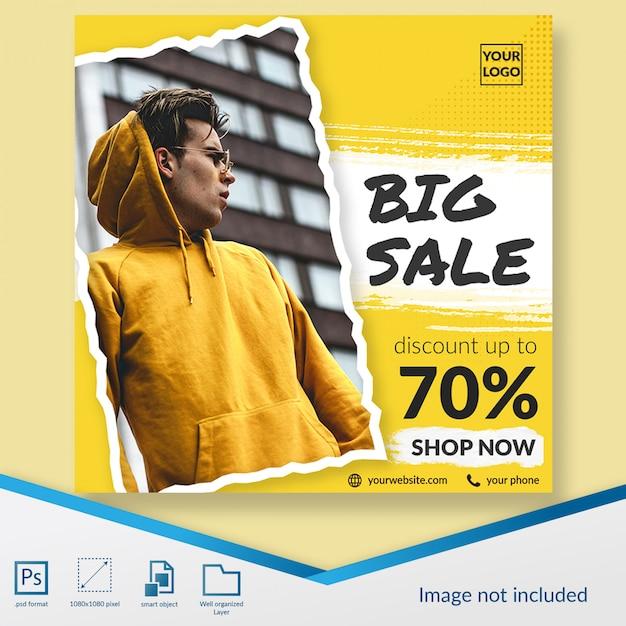 Oferta de descuento de promoción de moda de venta súper grande banner cuadrado o plantilla de publicación de instagram PSD Premium