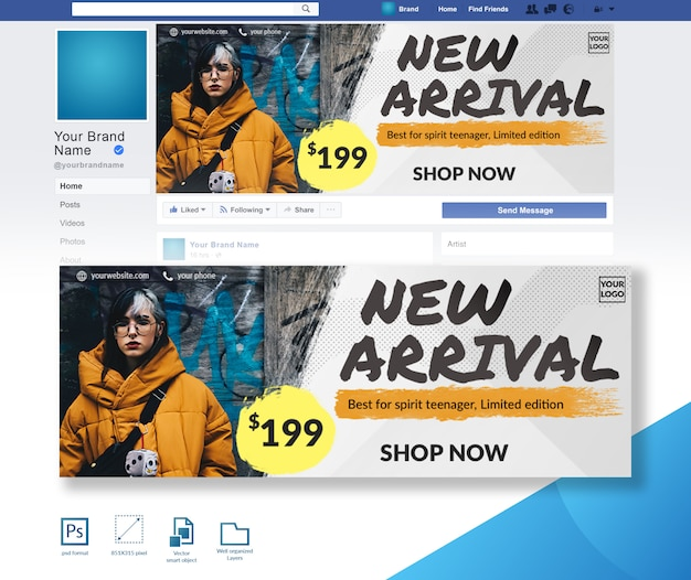 Oferta de descuento venta de moda plantilla de diseño de portada de facebook PSD Premium