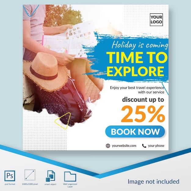 Oferta de descuento para viajes y viajes banner de plantilla de publicación en redes sociales PSD Premium