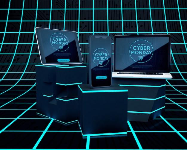 Oferta de dispositivo electrónico de cyber monday PSD gratuito