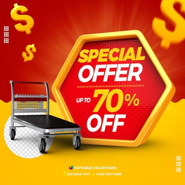 Oferta especial de cuadro de texto 3d con carro de carga hasta un 70% de descuento PSD Premium