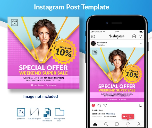 Oferta especial fashion sale social media post template PSD Premium