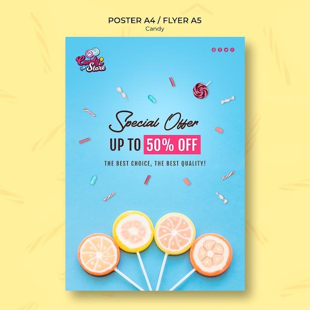 Oferta especial folleto de tienda de dulces PSD gratuito