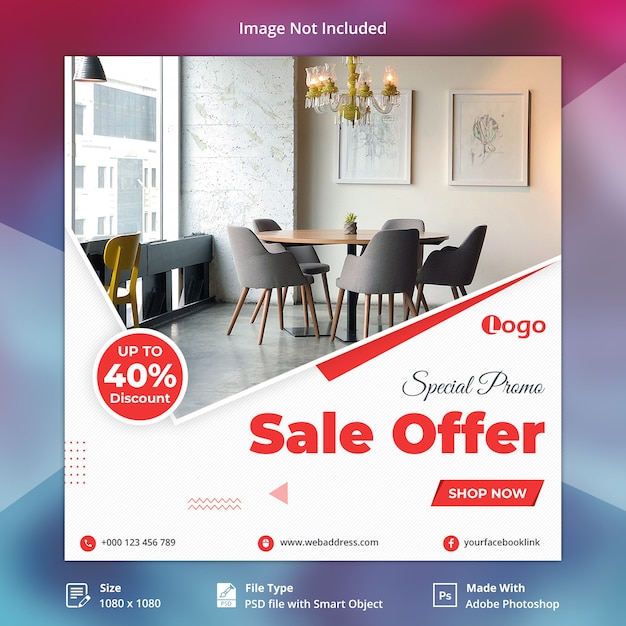 Oferta especial de venta promocional banner de redes sociales PSD Premium