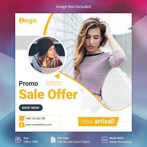 Oferta de venta de instagram o plantilla de banner cuadrado PSD Premium