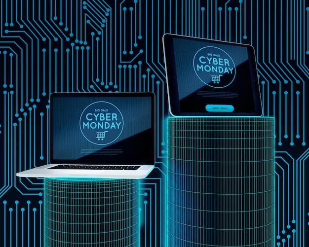 Offerta lunedì cyber per laptop e tablet Psd Gratuite