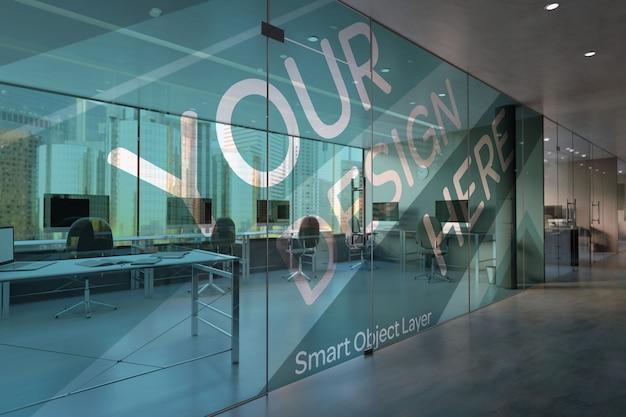 Oficina de vidrio maqueta PSD Premium