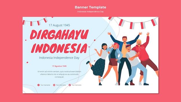 Onafhankelijkheidsdag banner indonesië Gratis Psd