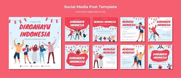 Onafhankelijkheidsdag indonesië social media post Gratis Psd