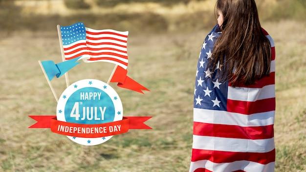 Onafhankelijkheidsdag mockup met copyspace Gratis Psd