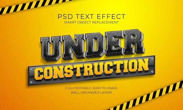 Onder constructie teksteffect sjabloon Premium Psd