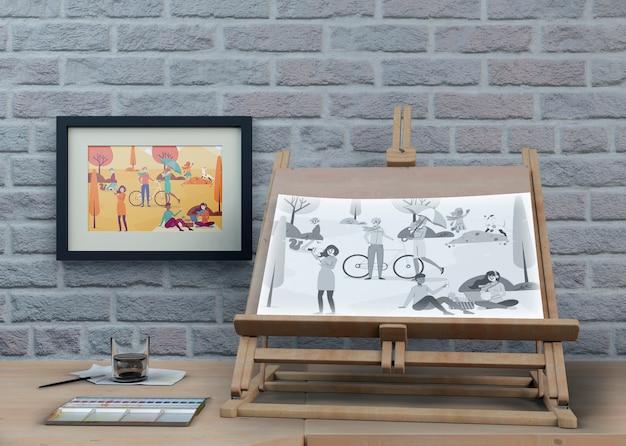 Ondersteuning bij het schilderen met artistiek werk Gratis Psd