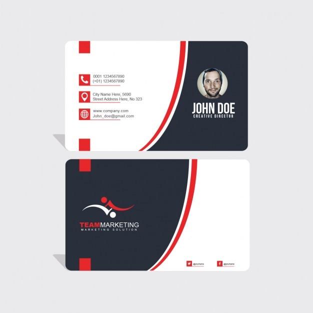 ondulado vermelho e preto formas cartão de visita Psd grátis