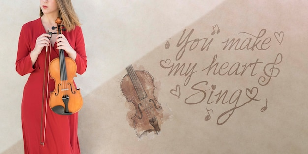 Onherkenbare dame met cello mock-up Gratis Psd