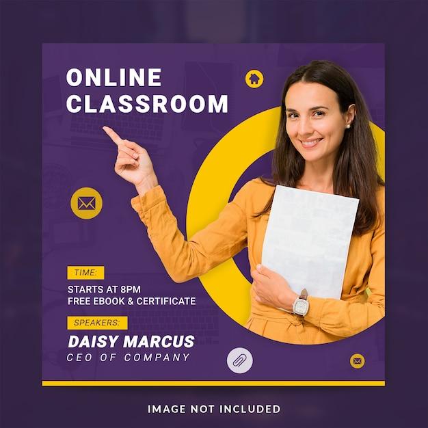 Online klaslokaal sociale mediasjabloon Premium Psd