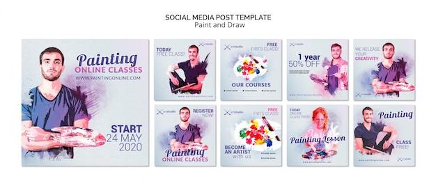 Online lessen schilderen op sociale media Gratis Psd