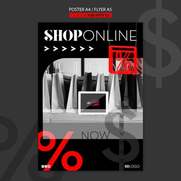 Online mode winkelen poster sjabloon Gratis Psd