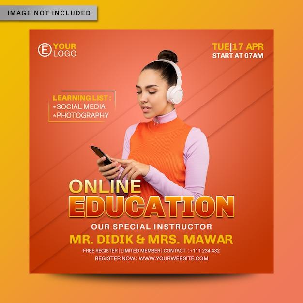 Online onderwijs sociale media instagram postbanner premium psd Premium Psd