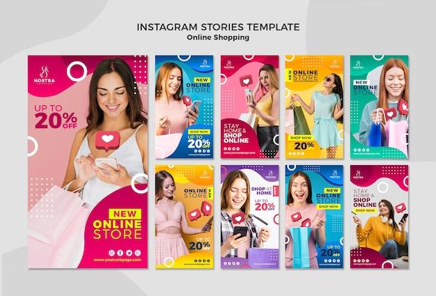 Online winkelen concept instagram verhalen sjabloon Gratis Psd