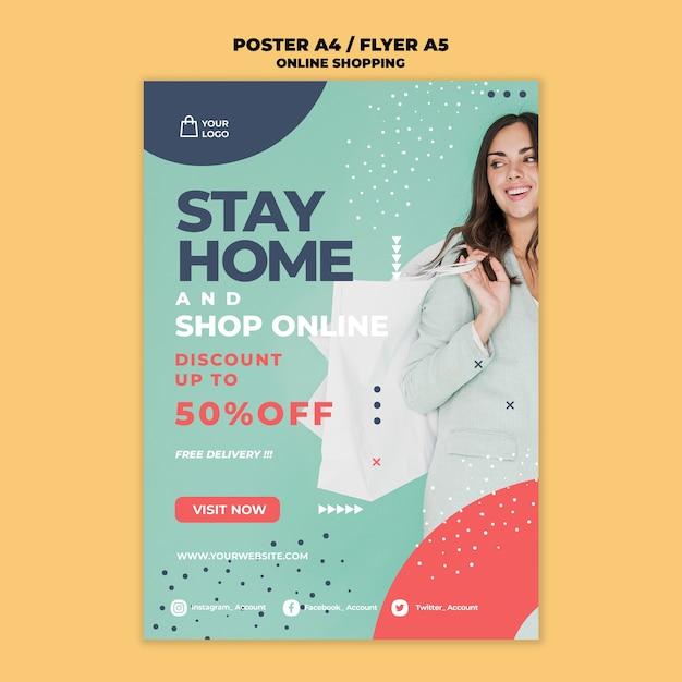 Online winkelen flyer ontwerpen Gratis Psd