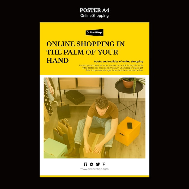 Online winkelen poster concept Gratis Psd