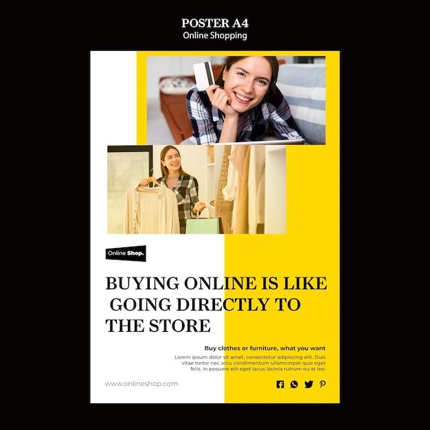 Online winkelen poster sjabloon Gratis Psd