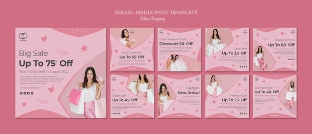 Online winkelen social media-berichten Gratis Psd