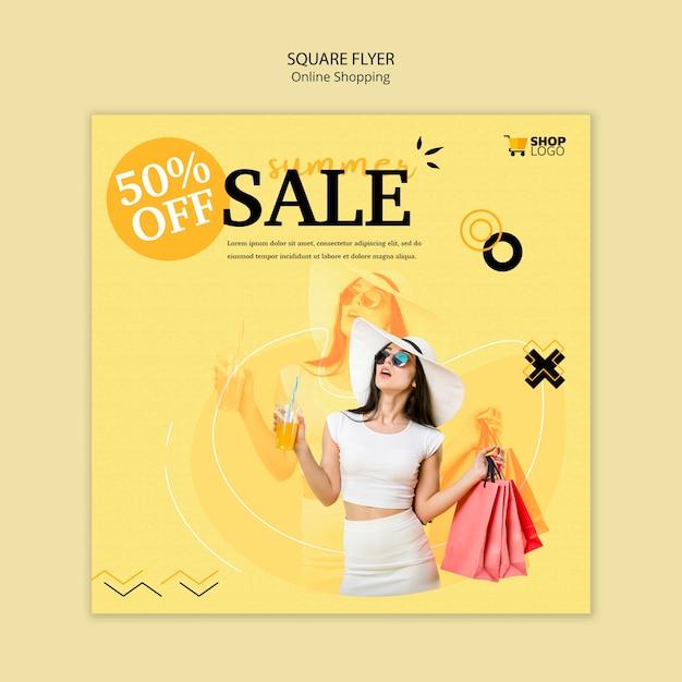 Online winkelen vierkante flyer-stijl Gratis Psd