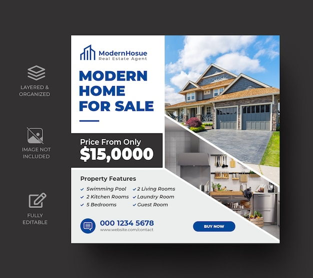 Onroerend goed sociale media banner of vierkante flyer-sjabloon Premium Psd