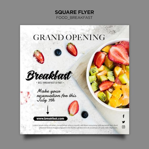 Ontbijt concept sjabloon folder Gratis Psd