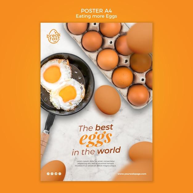 Ontbijt met eieren poster sjabloon Gratis Psd