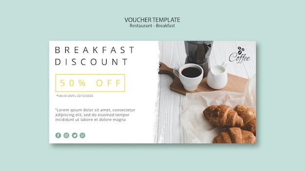 Ontbijt restaurant voucher sjabloon Gratis Psd