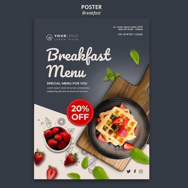 Ontbijt tijd sjabloon poster Gratis Psd