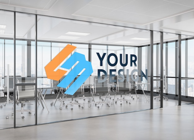 Ontwerp op kantoorvenster mockup Premium Psd