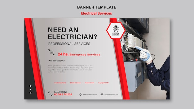 Ontwerp van de banner van de elektrische diensten Gratis Psd